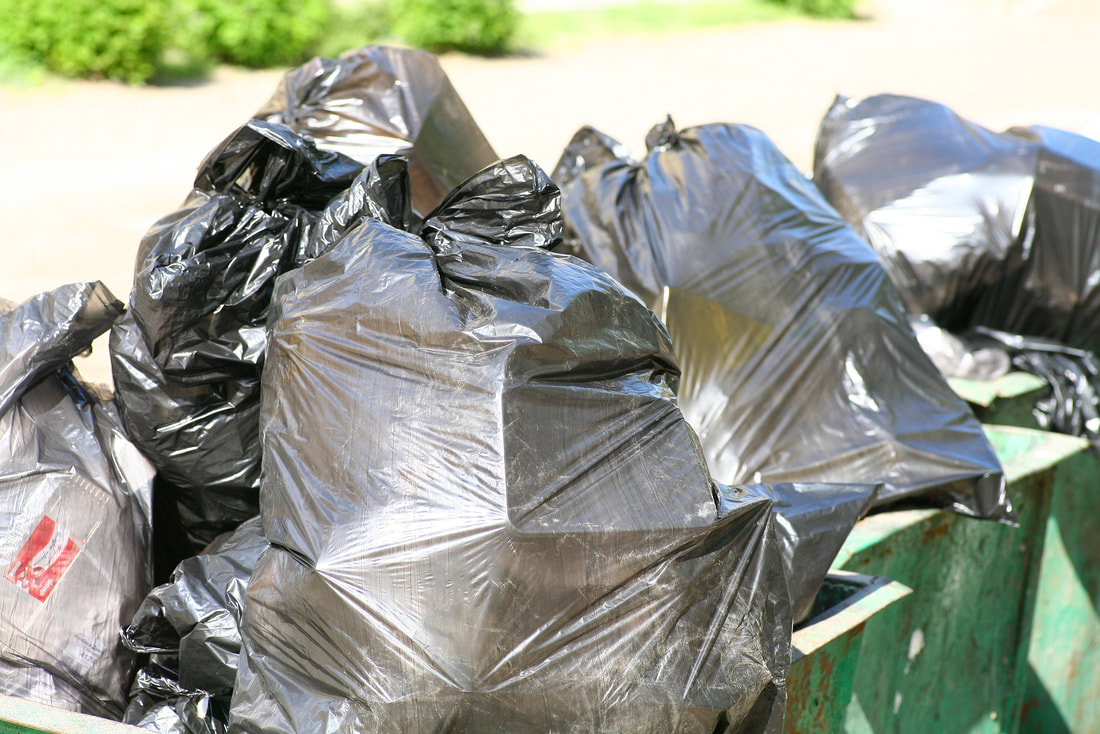 Trash bags filled ready to be removed